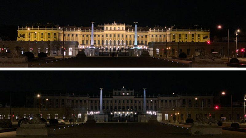 Schloss Schönbrunn, einmal ibeleuchtet, einmal dunkel